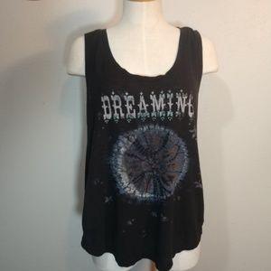 Lucky Brand Black Knit Tank Dreaming Tie Dye Print